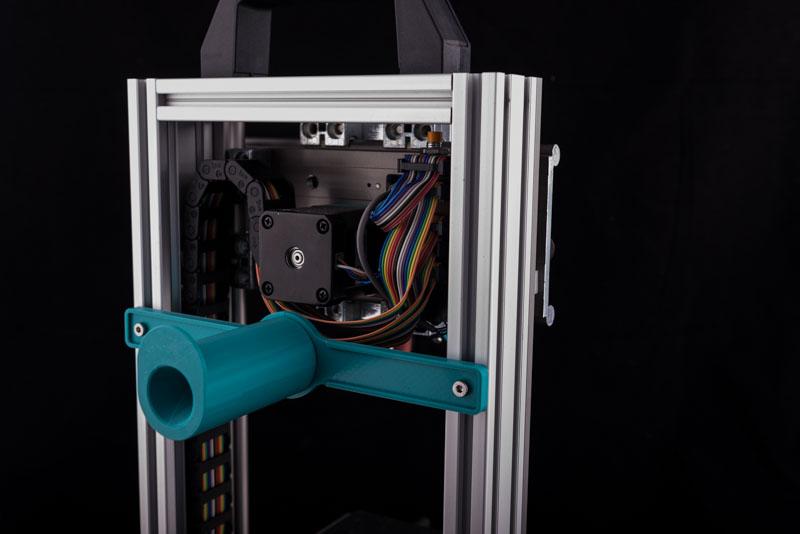 Tiny 3D Drucker Bausatz von hinten mit der Filamenthalterung